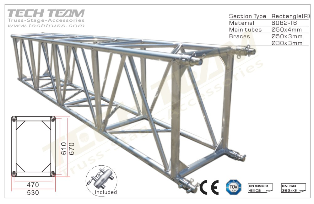 D66-RS40;Straight truss;670x530 Rectangle
