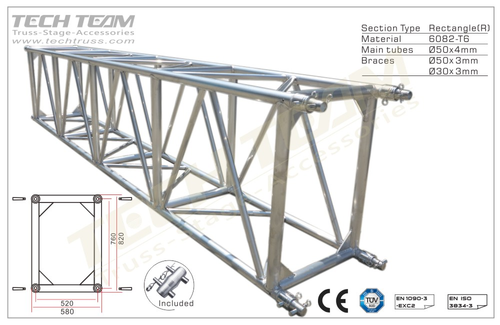 D76-RS40;Straight truss 820x580 Rectangle