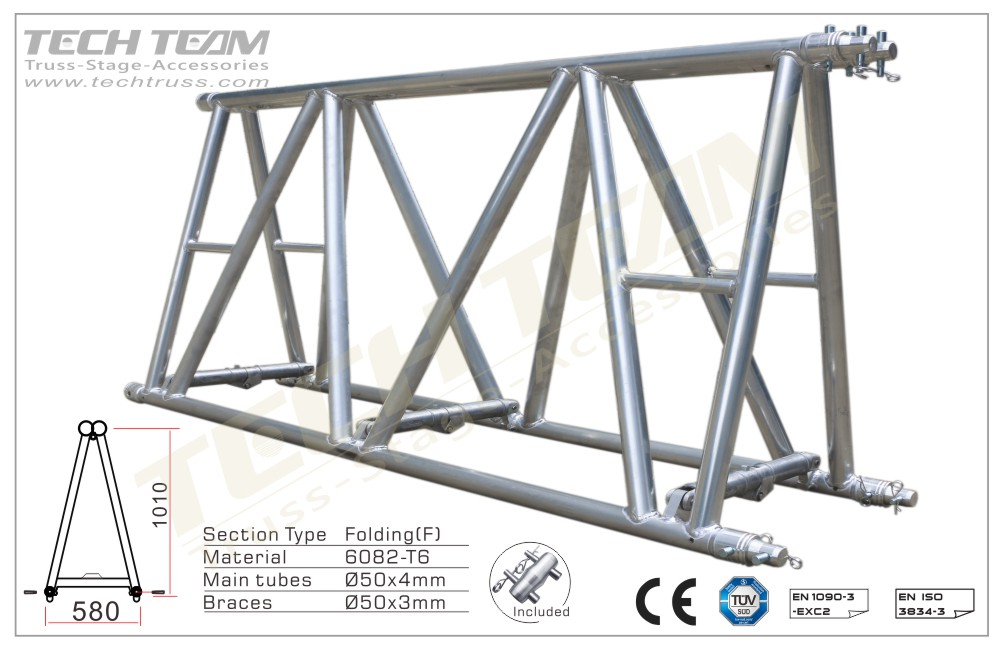 D100-FS45;Straight truss 1010x580 Folding