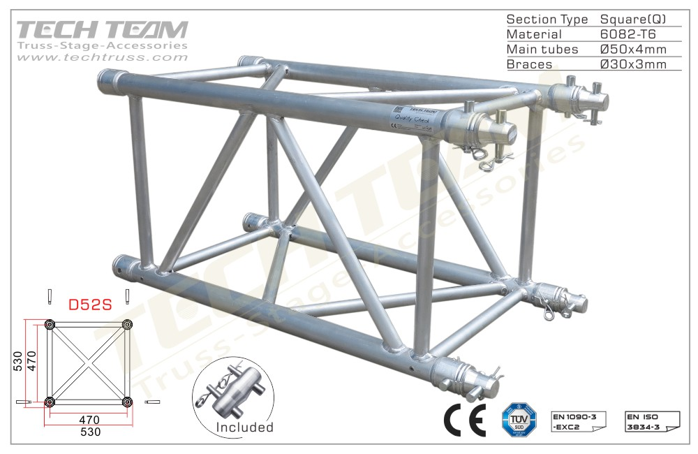 D52S-QS20;Straight truss;530x530 Square