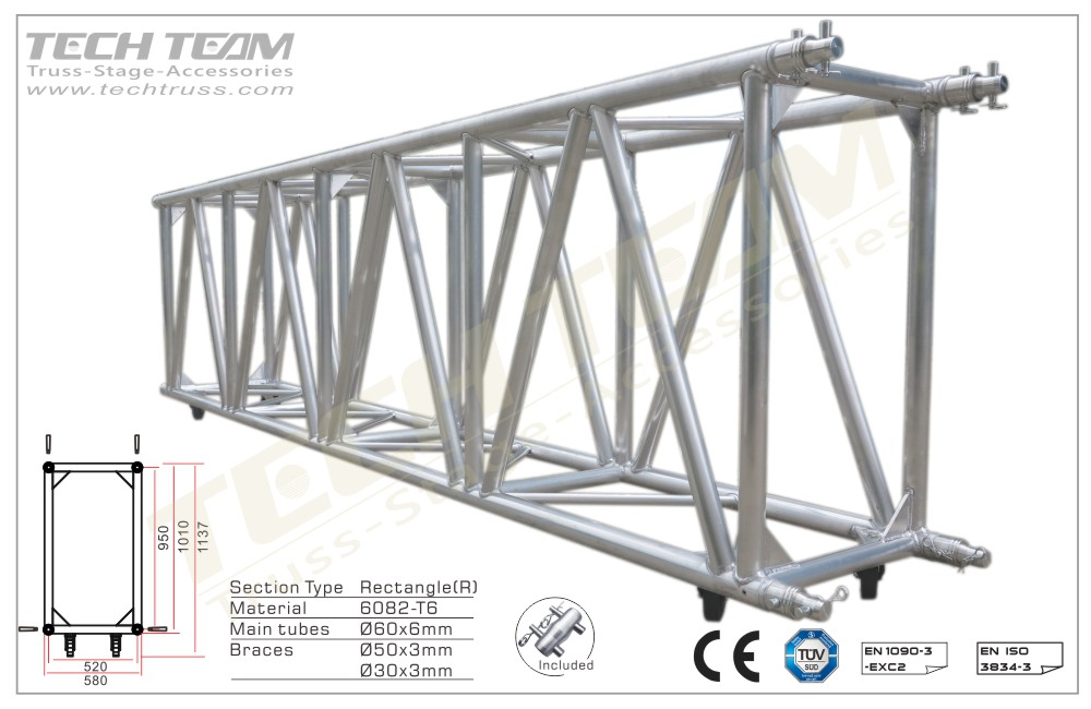 F100-RS25;Straight truss 1010x580 Rectangle