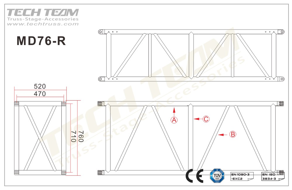 MD76-RS40;Straight truss;760 Rectangle