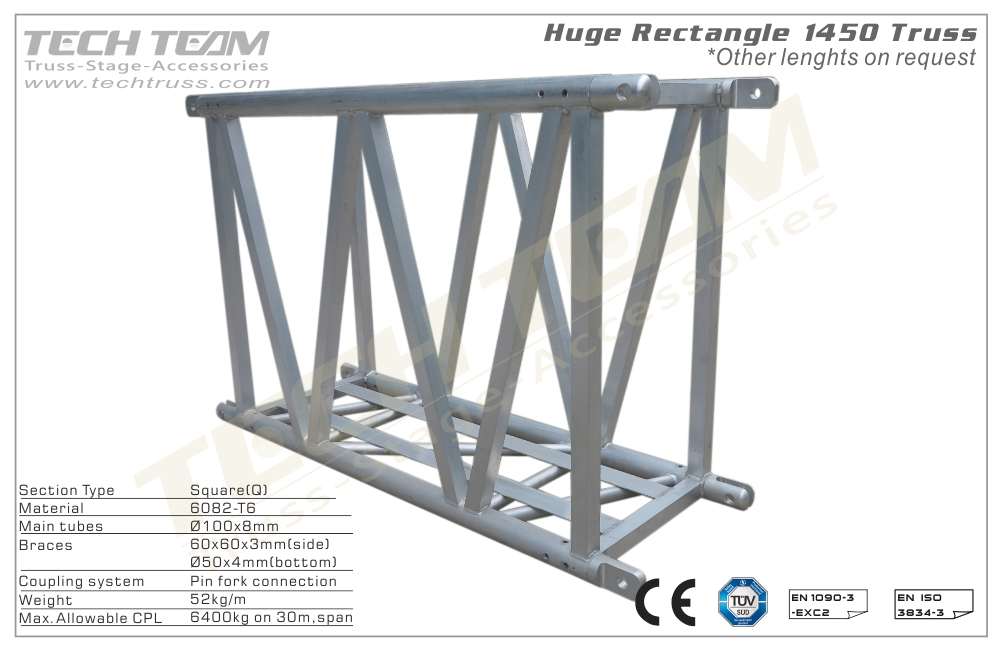 H145-RS50;Straight truss;1450 Huge Rectangle  Truss