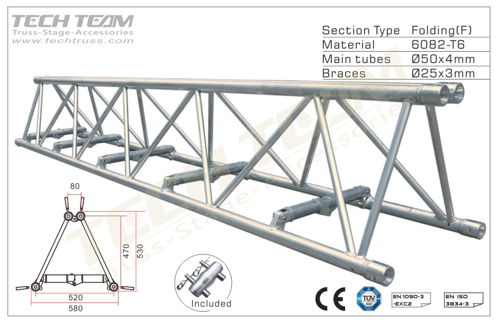 D52-FS25;Straight truss 530x580 Folding