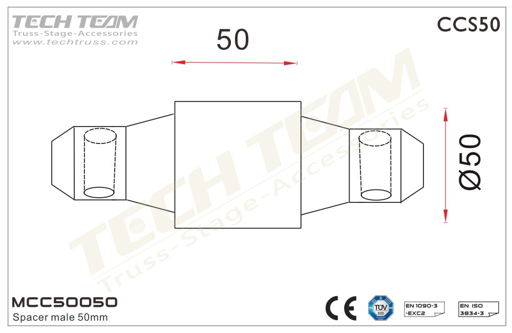 MCC50050;  Spacer Male 50mm