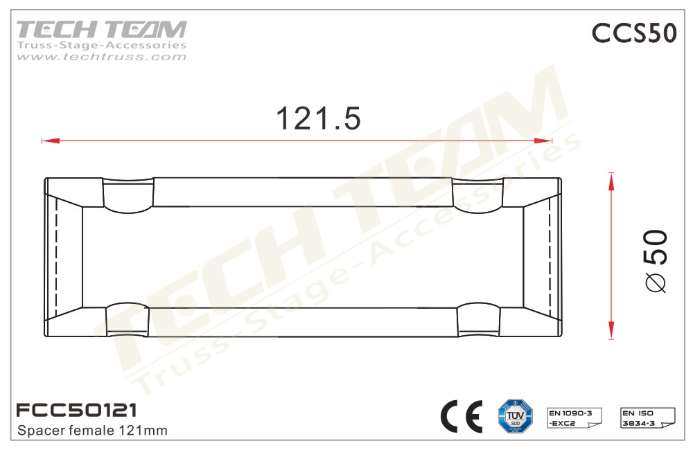 FCC50121;  Spacer Female 121mm