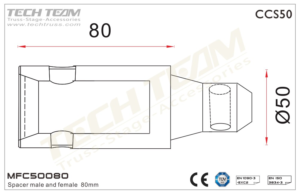 MFC50080;  Spacer Male And Female 80mm