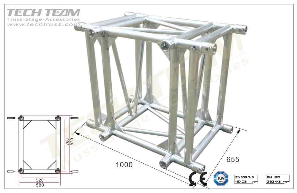 D76-RA3110;3 way 90º corner;760 Rectangle Truss