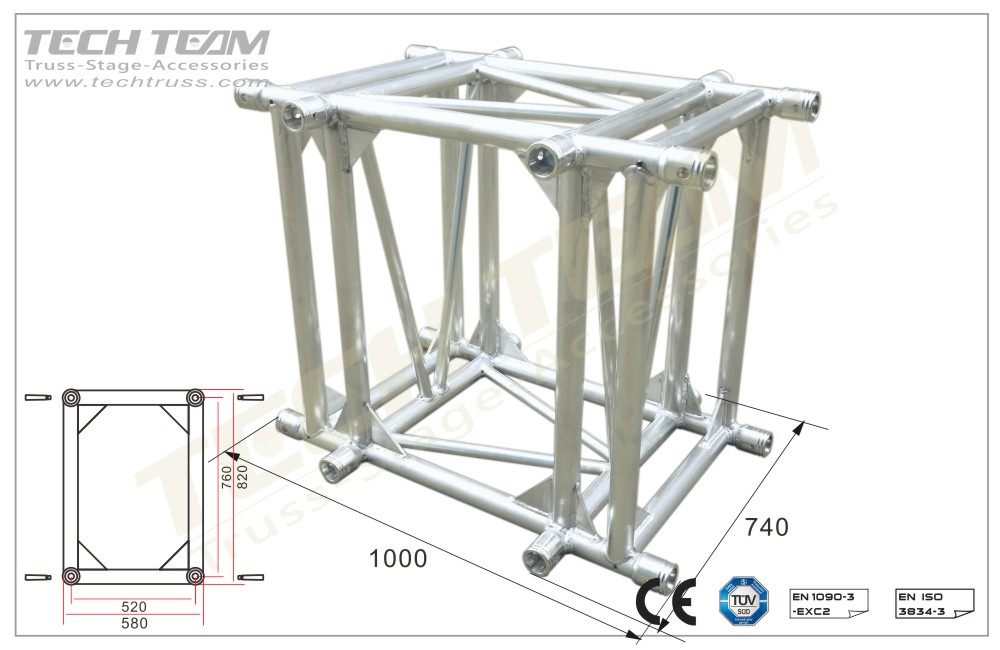 D76-RA4110;4 way 90º corner;760 Rectangle Truss